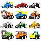 Coches Por Fricción, Pack de 12 Vehículos de Juguete Surtidos con 6 Camiones de Construcción y 6 Coches de Carreras, Mini Vehículos Camiones y Cochecitos de Juguete Yeonha Para Niños Pequeños