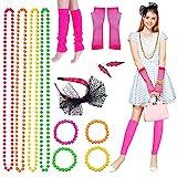 Yuccer 80s Accesorios de Disfraces Fiestas Neon Collares Pulseras Fishnet Gloves Calentadores de Piernas Lace Bow Diadema Neon Earrings Rosado Party Disfraz para Mujeres Niñas Señoras