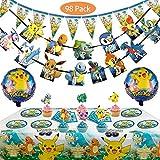 Pokemon Kids Birthday Party Decoration 98 Piezas Cartoon Anime Theme Artículos para Fiesta de Cumpleaños Platos, Tazas, Servilletas, Manteles con Paquete de Globos Gratis