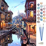 APERIL Pintar por Numeros Adultos Niños DIY Pintura por Números con Pinceles y Pinturas-16 * 20 Pulgadas, Sin Marco (Venecia)