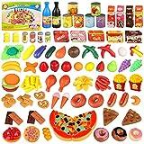 joylink Alimentos de Juguete, 139pcs Comida Cocina Juguete Set Cortar Frutas Verduras Pizza Juego de Plástico para Niños, Juguete Imitación Juego de rol para 3+ Años Niños