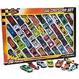 KandyToys Kids Die Cast Metal Toy Cars - 36 Piezas de Coches de Carreras, Paquete de Coches de Juguete Convertible