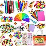COTTONIX Manualidades para Niños Kit para Niños Niñas Edades 4-12 años, Materiales para Manualidades Incluye Limpiadores de Pipa Chenilla, Pompones, Cuentas, Juego Creativo Regalo para Craft