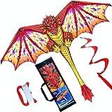HONBO Dragon Kite para niños y adultos, fácil de volar, cometa principiante, 55 x 62 pulgadas con cola giratoria de 60 m, cometas para niños (rojo)
