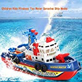 Atyhao Juguete de Barco de Bomberos para niños, Modelo de Barco de pulverización de Agua con Sonido y luz de Flash Juguetes de baño para niños (batería no incluida)