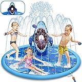 LETOMY Splash Pad, Tapete Acuático, Jardín de Verano Juguete para Niños de 180CM con Tema de Tiburón para Verano, Juego de Salpicaduras y Salpicaduras para Niños y Mascotas en Jardín 3 Niños (Azul)