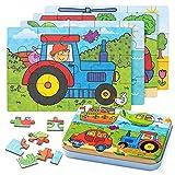 ZWOOS Rompecabezas de Madera,4 en 1Juguete Montessori Puzzles Infantiles ,Varying Degree of Difficulty Educational Learning Tool para Pequeños Niños y Niñas 2-5 Años de Edad (A)
