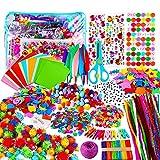 Yojoloin Manualidades Niños 5 6 7 8 Años,1800+pcs Creativo Kit Manualidades DIY Arts Crafts Materiales,Juegos de Manualidades con Pompoms,Limpiadores de Pipa,Papel de Colores,Pegatinas