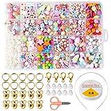 ZITFRI Cuentas de Niños DIY 24 Tipos de Cuentas Coloridas para niños niñas Hacer Joyas Pulseras de Bricolaje Cuentas de Collares 600 Piezas Beads Kit de fabricación de Joyas Juguete de Creatividad