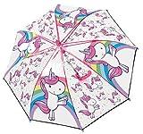 POS Handels GmbH Stockschirm mit Einhorn Motiv, Regenschirm für Mädchen, manuelle Öffnung und Fiberglasgestell Paraguas clásico, 62 cm, Multicolor (Bunt)