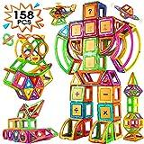 Blusmart 158 Piezas 3D Bloques Construcción Magnéticos, Juguetes Construcciones Magnéticas para Creativos y Educativos, Aprender Números, Alfabeto Tarjetas, para Niños Niñas de 2 3 4 5 6 7 8 Años