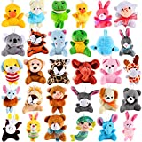 vamei 30 pièces Mini en Peluche Animal Toy Set Mignon Petits animaux en Peluche en Peluche Porte-clés décoration pour Cadeau Award, Goody sacs de remplissage d'oeufs de Pâques pour Les Enfants