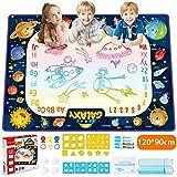 JOYSPACE Agua Dibujo Pintura Pizarra Mágica (120X90CM) Alfombra de Agua Doodle Esteras de Agua Doodle Regalos de Dibujo Juegos Juguetes Educativo para Niños Niñas de 3 4 5 6 7 8 años