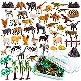 TOEY PLAY 3 en 1 Mini Juguetes Figuras de Animales con Dinosaurios Selva Granja Juguete Educativo Regalo para Niños Niñas 3 4 5 6 Años