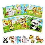 BelleStyle Rompecabezas de Madera, 6x9 Piezas Puzzles de Madera, Rompecabezas de Animales Montessori Juguete - Educativos Aprendizaje Juegos y Juguetes para Pequeños Niños y Niñas 3-5 Años de Edad