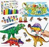 Felly Dinosaurios Juguetes 6 Años, Manualidades para Niños, 47 Piezas Pintura Kit con Tapete de Juego, Figuras Dinosaurios, 24 Colores Pintura, Creativo Juego Cumpleaño Regalos niños 3 4 5 6 7 8 Años