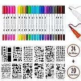 Juego de 24 Rotuladores de Doble y Journal Plantillas, Rotuladores de Punta Fina, Rotuladores de Colores, Bolígrafos de Dibujo para Anotaciones y Libros de Colorear