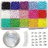 Ewparts 3mm Mini cuentas de cristal para los niños DIY Bracelet Arte y joyería-Making, cadena de cuentas de fabricación de juego, Fadeless Color (Full color)