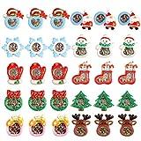 30 Piezas Mini Adornos de Navidad, Resina Figuras en Miniatura Navideños para Regalo, Tarjetas de Felicitación