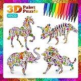 Juego de rompecabezas para niños de 5 a 10 años, rompecabezas en 3D para niños de 4 a 12 años Pintura DIY Rompecabezas para niños Arte 3D Puzzle Regalo de cumpleaños Edad 6 7 8 9 10 Niño Niñas