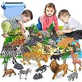 Animales Juguetes Mini Animales de La Selva Realistas Tarta Cumpleaños con Alfombra de Juego, Árbol y Piedra para Niños 30 Piezas