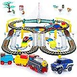 Kinderplay Tren eléctrico con Pista de Carreras para niños, vías férreas, vías para Coches, Tren a batería, 2 en 1 KP0635